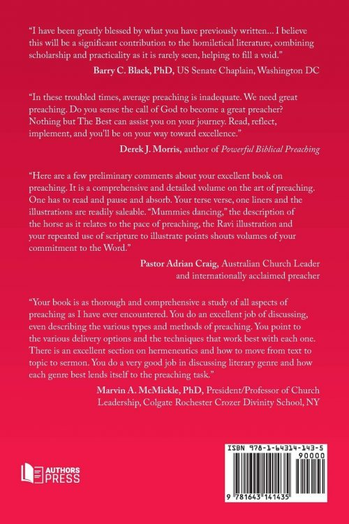 Nothing But the Best A Guide to Preaching Powerful Sermons back cover